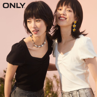 ONLY2021夏季新款时尚纯色修身短款泡泡袖短袖T恤女|121101027