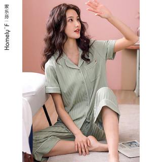 家乐芬 梭织棉纱布睡衣女士夏季纯棉短袖长裤家居服夏天薄款全棉两件套装