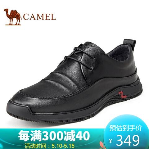 CAMEL 骆驼 骆驼(CAMEL) 商务休闲鞋系带正装皮鞋男英伦男士皮鞋 A112170050 黑色 41