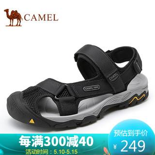 CAMEL 骆驼 骆驼(CAMEL) 舒适耐磨织带网布休闲户外魔术贴沙滩男凉鞋 A122307622 黑色 40