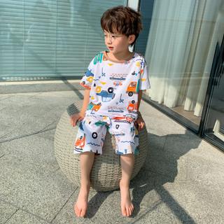 左西 男童睡衣儿童家居服套装卡通造型两件套中大童夏装2021新款潮