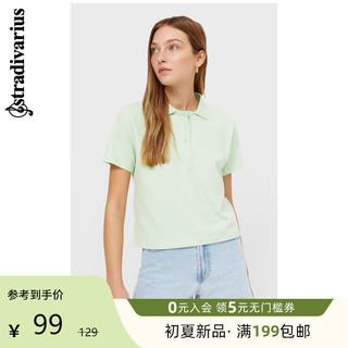 stradivarius 斯特拉迪瓦里斯 Stradivarius2021春季女士绿色休闲短款短袖POLO衫02550550501