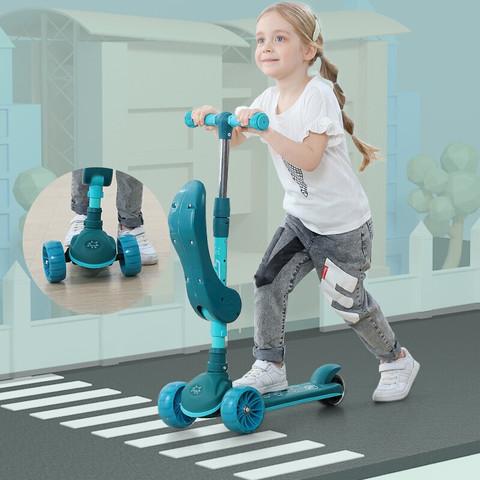 BEIJUE 贝爵 儿童可折叠滑板车 坐踏三合一5cm悍马PU轮灯光音乐款