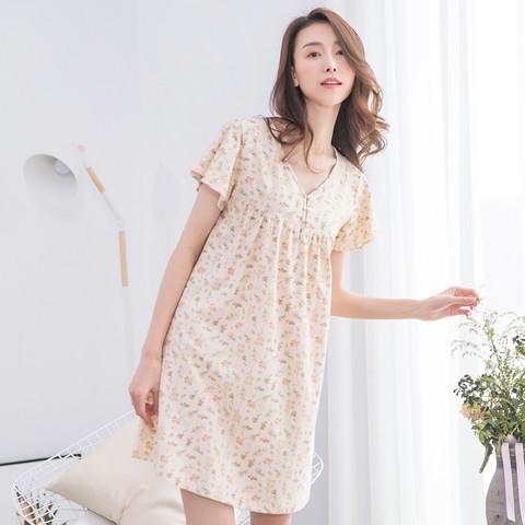 dingguagua 顶瓜瓜 纯棉v领短袖薄款透气夏季女士睡衣家居服睡裙