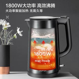 1.7L全钢无缝内胆双层防烫彩钢煲体电热水壶SW-17J15B
