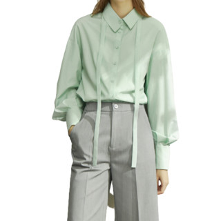 AMII 女士POLO领长袖衬衫 1204TM0883 浅绿 XS