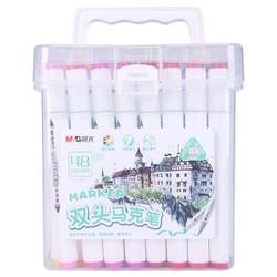 M&G 晨光 48色速干双头马克笔 纤维头学生重点标记记号笔 涂鸦笔绘画笔 48支/盒APMV0915