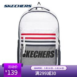 SKECHERS 斯凯奇 Skechers斯凯奇书包男女同款简约双肩包轻便字母亮白色L220U031-0019