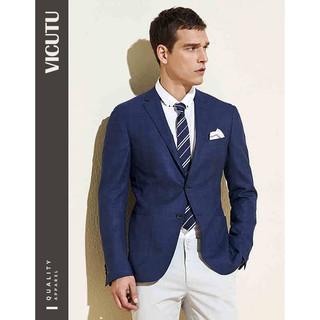 威可多VICUTU男士单西服羊毛商务休闲修身西装外套男VRS88110538 深蓝 165/88B