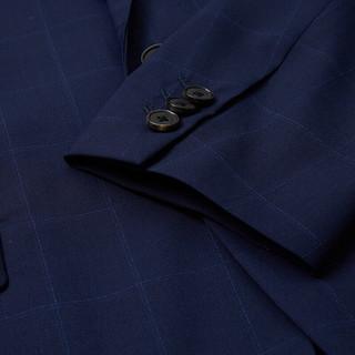 MECITY男装夏季羊毛时尚格子西服男士商务西装外套男抗皱冰爽亲肤 深蓝组 165/88A