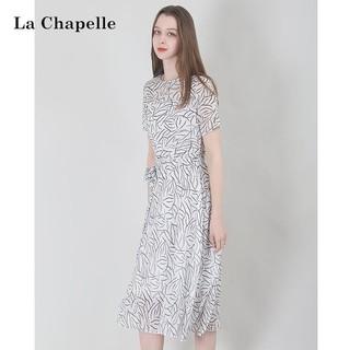 La Chapelle 拉夏贝尔 拉夏贝尔Laetia2021夏名媛轻熟风气质长裙女秋显瘦白色碎花连衣裙