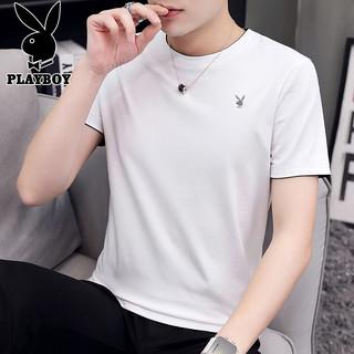 PLUS会员 : PLAYBOY 花花公子 T恤男夏季圆领休闲纯色男士t恤短袖上衣 白色 4XL