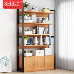 SHICY 实采 实采简易书架落地小学生书柜简约现代多层钢木置物架桌上面铁艺 六层古檀木色80X30X175CM