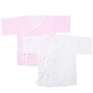 Purcotton 全棉时代 婴儿纱布短款和袍 粉色+白色 2件/盒