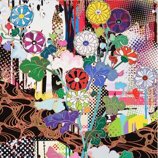 ARTMORN 墨斗鱼艺术 村上隆光琳系列版画方形抽象金银箔限量300版日本直邮手工装裱bao邮72*76cm