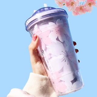 Girlwill正版夏日樱花吸管杯少女心饮水杯非一次性吸管大容量便携