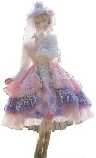 LadyMiao 彩虹蛋糕物语 洛丽塔 JSK无袖连衣裙  香芋草莓粉 S
