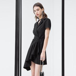衬衫连衣裙女短裙子不规则暗黑朋克休闲短袖通勤A字修身显瘦夏季