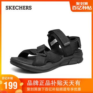 SKECHERS 斯凯奇 Skechers斯凯奇2021年夏季男士运动休闲凉鞋外穿魔术贴拖鞋沙滩鞋