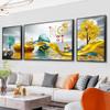 客厅装饰画三联挂画沙发背景墙壁画现代简约山水晶瓷画镶钻免打孔 左右35*50+50*70(2-2.5米沙发