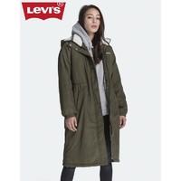LEVI Levi's李维斯 女士字母LOGO刺绣加绒连帽棉服75671-0001 军绿色 M