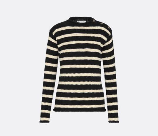 DIOR 水手风针织衫 黑色和米白色棉质和羊绒混纺针织面料 054S22AM714_X9330