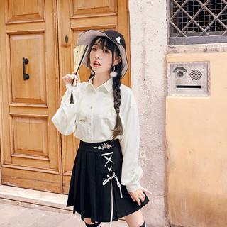 十三余小豆蔻儿[竹色]绣花口袋白色刺绣衬衫百搭日常款国风(XS、衬衫(蝴蝶) 现货)