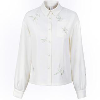 十三余小豆蔻儿[竹色]绣花口袋白色刺绣衬衫百搭日常款国风(M、衬衫(蝴蝶) 现货)