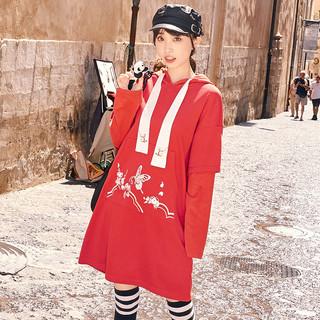 十三余小豆蔻儿[花落蝶]绣花长袖假两件连帽卫衣宽松国风女(XS、卫衣(红色) 花落蝶 现货)