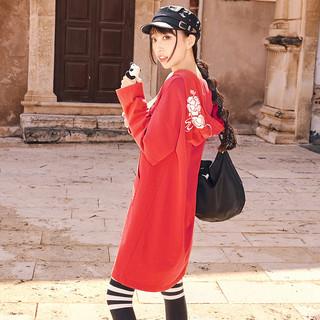 十三余小豆蔻儿[花落蝶]绣花长袖假两件连帽卫衣宽松国风女(XL、卫衣(红色) 花落蝶 现货)