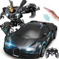大型遙控車兒童玩具車男孩蘭博基尼賽車變形車機器人布加迪遙控汽車五一禮物