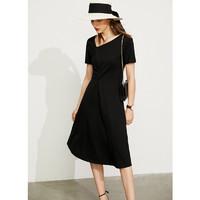 AMII Amii法式气质显瘦A字连衣裙2021夏季新款斜V领修身褶皱黑色裙子女
