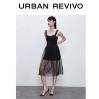 URBAN REVIVO WG16SBGN2000 女装时髦休闲吊带网纱拼接牛仔连衣裙