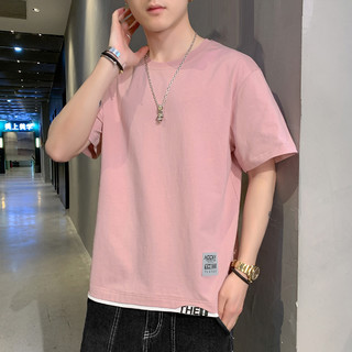 ITISF4 艾夫斯 新款夏季时尚休闲运动男士短袖圆领男式T恤假两件潮流简约修身