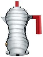 ALESSI 阿莱西 Alessi 意式浓缩咖啡机,带有聚酰胺手柄,铝,红色,1杯
