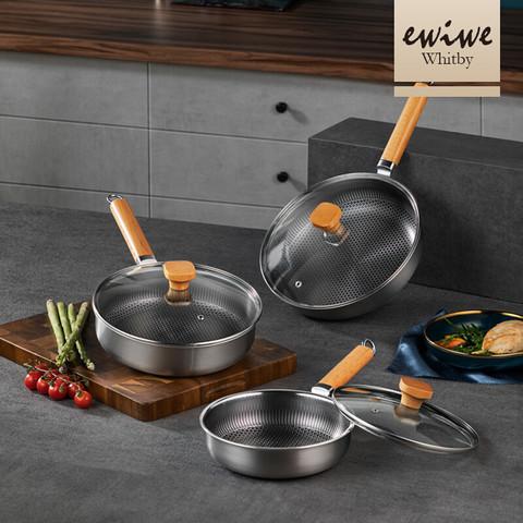 EWIWE 英国 木柄316不锈钢蜂窝不粘锅通用炒菜煎锅具 全面屏30cm/316不锈钢(炉具通用)