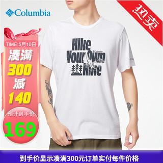 Columbia 哥伦比亚 Columbia哥伦比亚T恤男士2021春夏季新款户外运动休闲舒适时尚印花透气速干短袖AE0408