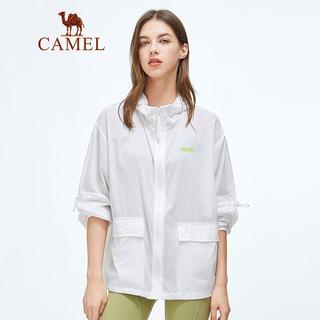 CAMEL 骆驼 骆驼(CAMEL)女装防晒衣2021夏季潮流皮肤衣落肩防泼水外套帅气个性风衣 W1BG49212 白色S
