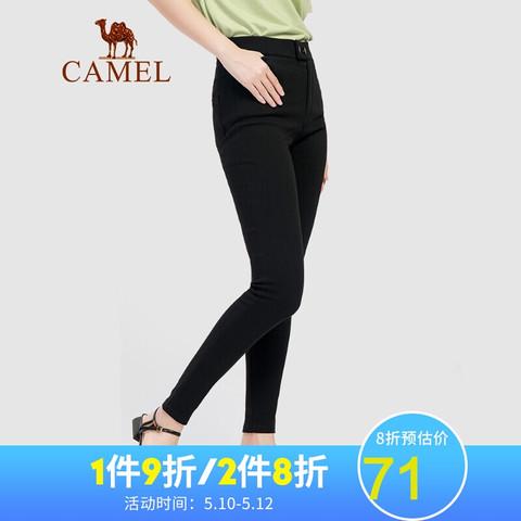 CAMEL 骆驼 骆驼(CAMEL)女装裤子女2021夏季薄款休闲高腰九分裤弹力紧身裤修身小脚裤 W0S1SU101 黑色XXL