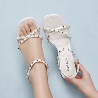 YEARCON 意尔康 21年夏季新品时尚百搭铆钉时装高跟凉鞋一字带粗跟方头女凉鞋
