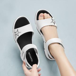 YEARCON 意尔康 21夏季新款百搭平跟魔术贴沙滩凉鞋休闲轻便运动女凉鞋女鞋