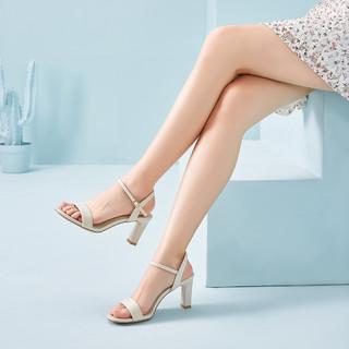 YEARCON 意尔康 21年夏季新款女鞋时尚百搭露趾粗跟一字扣带时装高跟凉鞋女凉鞋