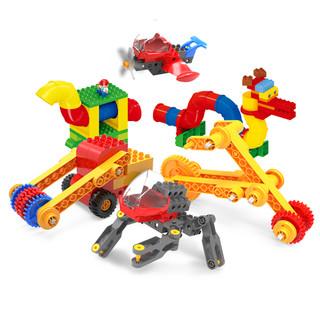 格格乐 大颗粒拼装积木工程机械齿轮益智玩具