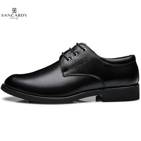 圣吉卡丹 英伦牛皮鞋男商务低帮正装鞋男士职场办公皮鞋