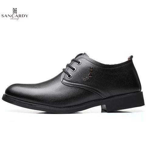 圣吉卡丹 真皮男士职场低帮系带英伦时尚商务正装皮鞋男