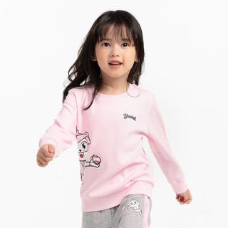 ANTA 安踏 2021春装新款安踏童装女小童套头衫3-8岁 圆领印花卫衣常规款