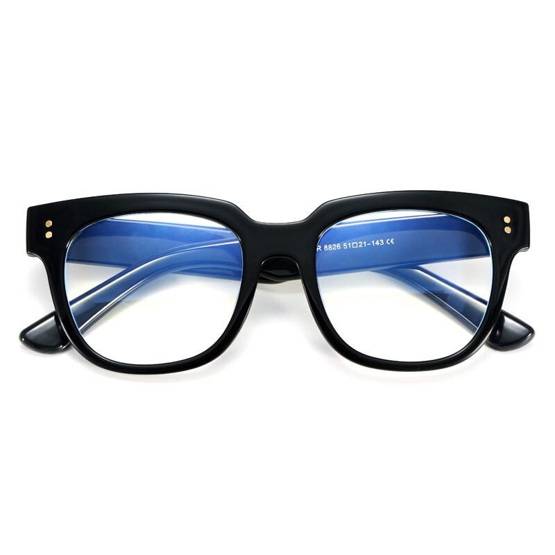 镜木师 3067 亮黑色TR眼镜框+防蓝光镜片