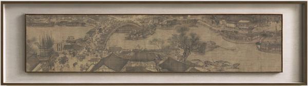 艺术家的礼物 张择端名作复刻版画-清明上河图B段 小号柚木双层框 40x140cm