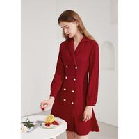 秋水伊人 就是超值2021年春夏新款纯色双排扣修身雪纺西装领连衣裙女 大红 S