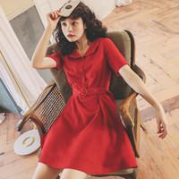 THENEXT  2021红色气质夏季新款复古气质娃娃领减龄高腰中长款连衣裙 红色 L
